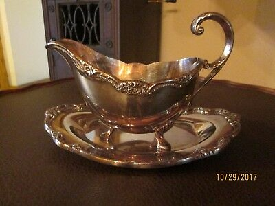 """Rogers Brothers """"Remembrance"""" Silver Gravy Boat and Underplate"""