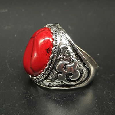 Chinese hand-carved Tibetan silver red turquoise ring