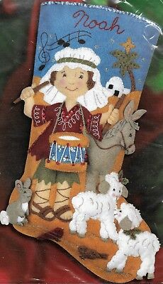 """THE LITTLE DRUMMER BOY""  BUCILLA CHRISTMAS STOCKING KIT stamped FELT 45.7CM"