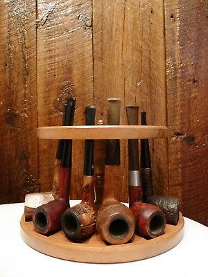 Lot of 6 Vintage Used Estate Smoking Pipes,Mixed Styles & Brands with Holder