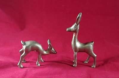 Pair Of Small Solid Brass Deer Dear Figurines