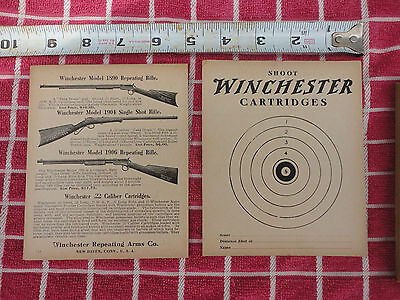 TWO 1914 Vintage WINCHESTER Shooting Gallery Targets 22 Models 1890 1904 1906