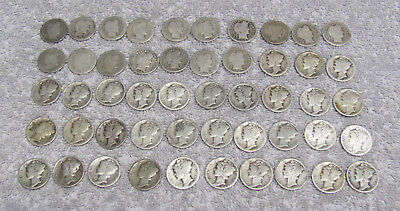 Roll of 50 ($5 Face) 90% Silver Mercury & Barber Dimes (1898 - 1929)