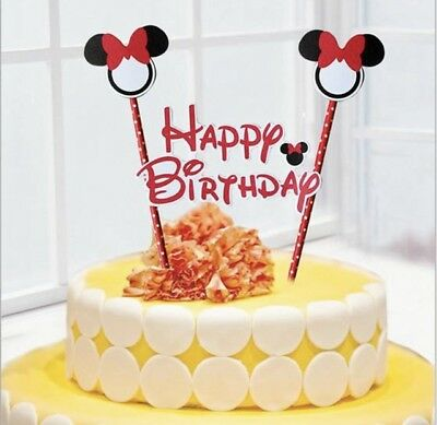 NEW Disney Minnie Mouse Themed Party Happy Birthday Cake Topper With Ears