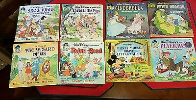 Lot of 8 Vintage Walt Disney's Story SEE HEAR & READ Books & 33 1/3 Records NICE