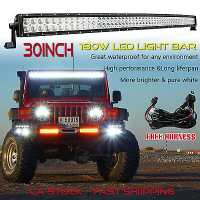 30inch LED Light Bar Curved Off road Truck Ford Jeep Boat SUV ATV UTE 4x4 4WD 32