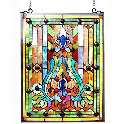 Stained Glass Panel Window Tiffany Victorian Flower Vase Hanging Decor Treatment