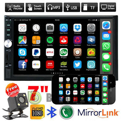 7'' HD Bluetooth Touch Screen Car Stereo Radio 2 DIN FM/MP5/USB/Mirror Link +Cam