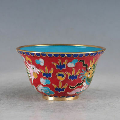 Delicate Chinese Cloisonne Hand-made Dragon & Phoenix Bowl Zw