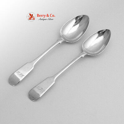 Fiddle Reverse Tipt Teaspoons 2 Halifax Nova Scotia James Langford 1840 Sterling