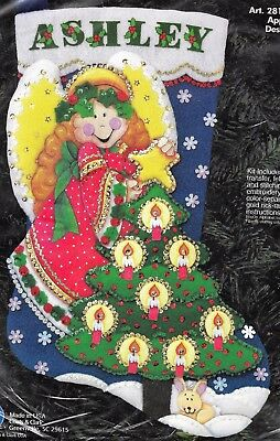 """angel Putting Star On Tree ""  Christmas Stocking Kit Felt Kit 45Cm One Only"