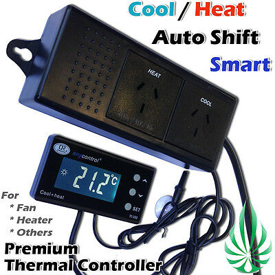 Cool and Heat Auto Shift Thermostat Controller For Hydroponics Grow Tent Room