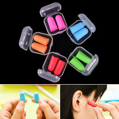 2set/4pcs Memory Foam Soft Earplugs Case Hearing Protection Ear Plugs Sleep FR