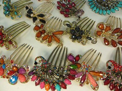 US Seller-12 pc lot decorative french twist hair comb with crystal rhinestones