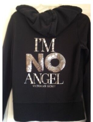 "VICTORIA SECRET SUPER MODELS ESSENTIALS I'M NO ANGEL"" BLACK HOODIE - Size M"
