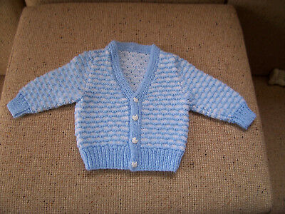 New Baby Hand Knitted Cardigan Blue & White 6 -9  Months Approzx