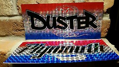 """DUSTER PLYMOUTH 6""""x12"""" License Plate Tag STICKER lot vtg Chroma Graphics laser 2"""