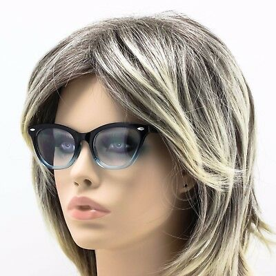 "Cat Eye Vintage Retro ""Ombre""  Women Eye Glasses Blue Red Purple Clear Bottom"