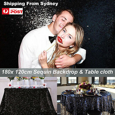 180x120cm Black Sparkly Sequin Tablecloth Backdrop Wedding Party Table Cloth DIY
