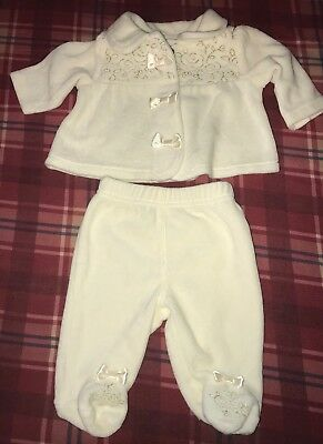 New NB Ivory Girls Infant Winter Outfit 2 Piece Size NB Warm & Soft