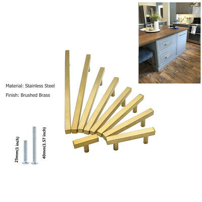Brushed Brass Cabinet Drawer Pulls Knobs Square Gold Kitchen Cabinet Door Handle