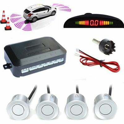 Silver 4 Sendors Car Parking Sensors Rear LCD Display Reverse Radar System Alarm