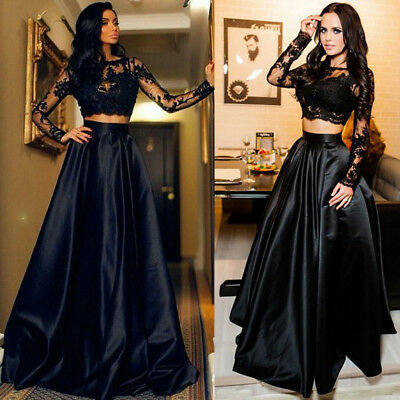 Women Long Sleeve Maxi Dress Evening Cocktail Party Ball Gown Formal Prom Dress