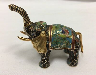 Vintage Chinese Cloisonne Elephant Brass Enamel Figurine Good Luck Trunk Up