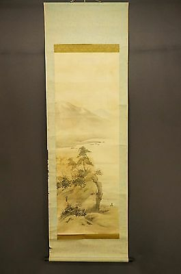 kissako Japanese Antique Hanging Scroll Sansui Silk Vintage w/ sign CY135