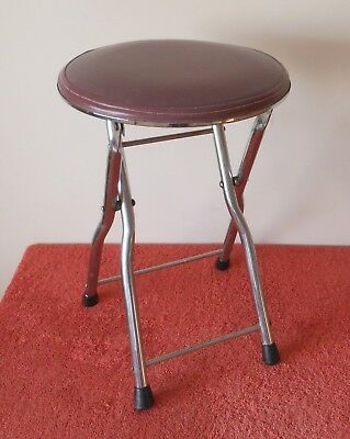 Vintage Retro Industrial Chrome/vinyl Folding Stool Camping Seat~Solid Easy Fold