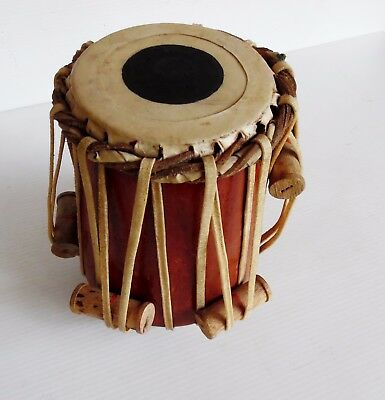 Small Wooden Tabla Hide Skin and Tuning Ropes 17 cm X 15 cm  10 cm Head