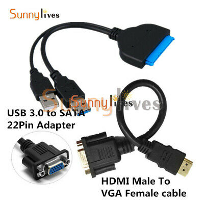 USB 3.0 To SATA 22Pin Hard Disk Driver SSD Adapter+HDMI Male To VGA Female Cable