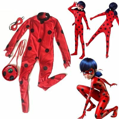 Kid Girls Miraculous Ladybug Fancy Dress Cosplay Costume Mask Bag Tight Jumpsuit