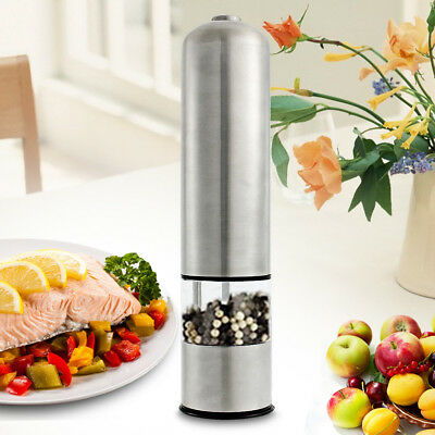 2IN1 Electric Grinder Kitchen Spice Sauce Salt Pepper Mill Steel Stainless