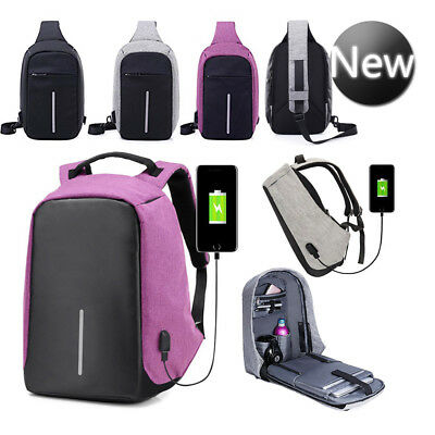 Unisex Anti-Theft Backpack Laptop USB Port Charger Travel Oxford School Bags UK