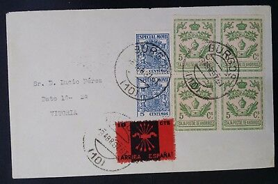 VERY RARE 1937 Spain Civil War Cover ties 7 Fiscal  Propaganda stamps cnc Burgos