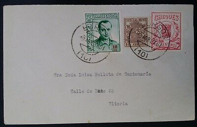 VERY RARE 1937 Spain Civil War Cover ties 3 Propaganda stamps canc Burgos