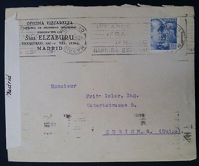 VERY RARE 1940 Spain Elzaburu Censor Cover ties 70c stamp Private Perfin