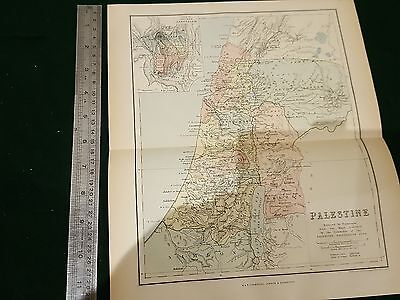 Rare Early  Vintage Antique  Palestine Map Circ 1876 Before  Pre Israel Existed