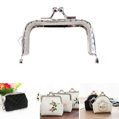 Silver Metal Clutch Bag Purse Frame Kiss Clasp Lock Bag Accessories 8.5cm