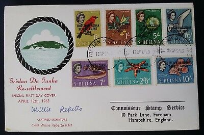 1963 Tristan da Cunha Resettlement Willie Repetto Signature FDC ties 7 stamps