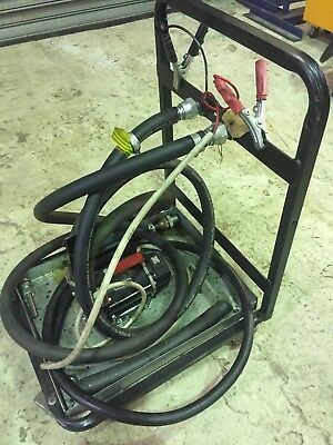 12Volt Diesel and Oil transfer pump. self priming. on a wheelable trolley