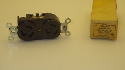Hubbell 4702 Twist Lock Duplex Outlet Bakelite For Split Circuit 2F 1R 15A 125V