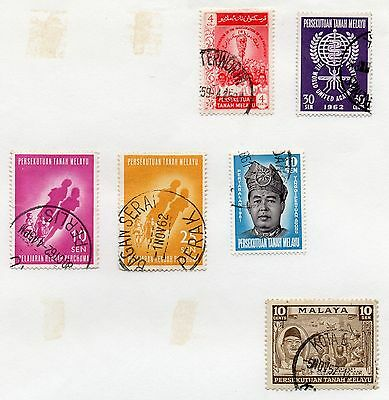 MALAYA - PERSEKUTUAN = 6 Different oddments on album page. All Used. As seen