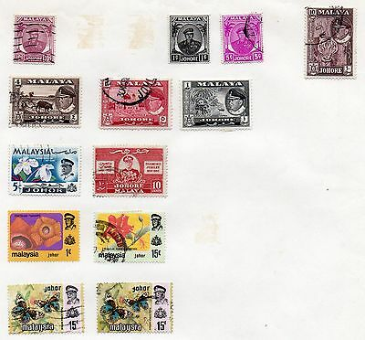 MALAYA - JOHORE = 13 Different oddments on album page. Mostly Used. As seen