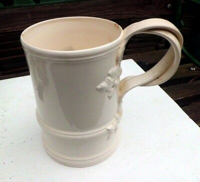 Vintage Leedsware Classical Creamware large mug with twisted handle 15cm high