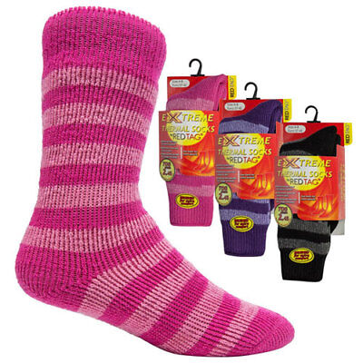 RED TAG Ladies Womens Extreme Thermal Socks Striped TOG 2.45 Warm Winter Bright