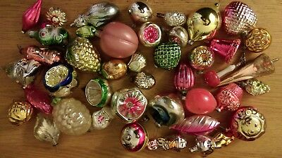 Large LOT Antique CHRISTMAS silver glass ornaments