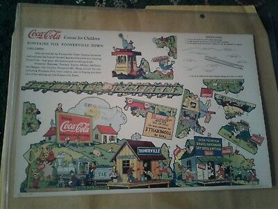 1930s COCA COLA advertising,TOONERVILLE TROLLEY rare cut out for children