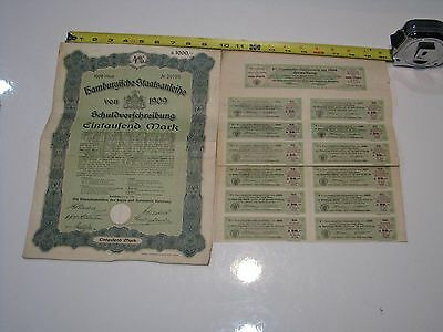 1909 German City of Hamburg 1,000 Mark 4% Bond, 1909